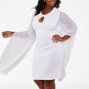 26/28 4X Ashley Stewart WHITE CHIFFON SLEEVE DRESS